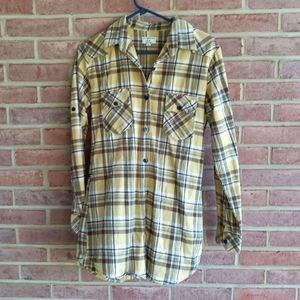 🔥🔥Matchstick Tunic Flannel Yellow Plaid Size S